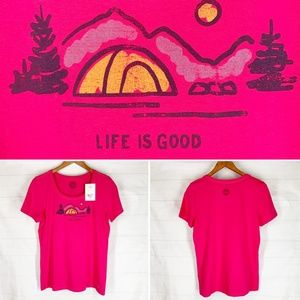 Life is Good Top S or M Pink Camping Mountains NEW
